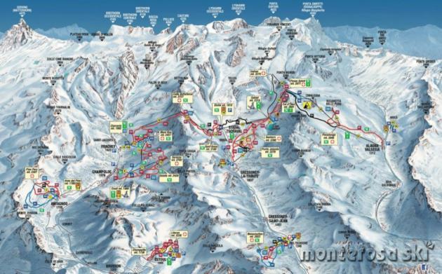 Skimapa střediska Monterosa Ski