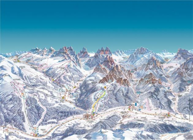 Skimapa střediska Sextner Dolomiten - Tre Cime Dolomiti