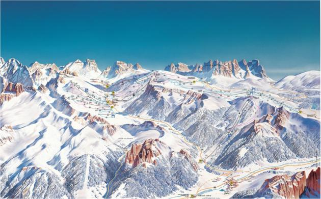 Skimapa střediska Alpe Lusia / San Pellegrino - Tre Valli